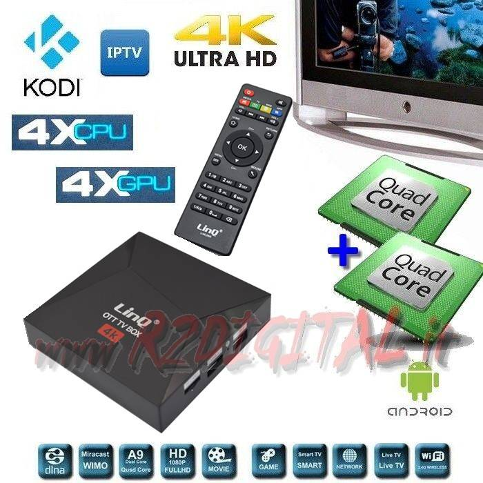 ANDROID BOX 2895 UHD MEDIA PLAYER WIFI LAN TV SMART LETTORE MKV